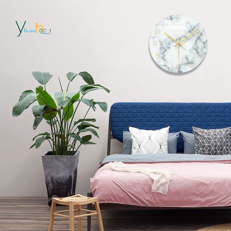 Marble Silent Wall Clock Living Room Decor 12 Inch Modern Non Ticking Decorations For Aesthetic Bed Shopee Philippines