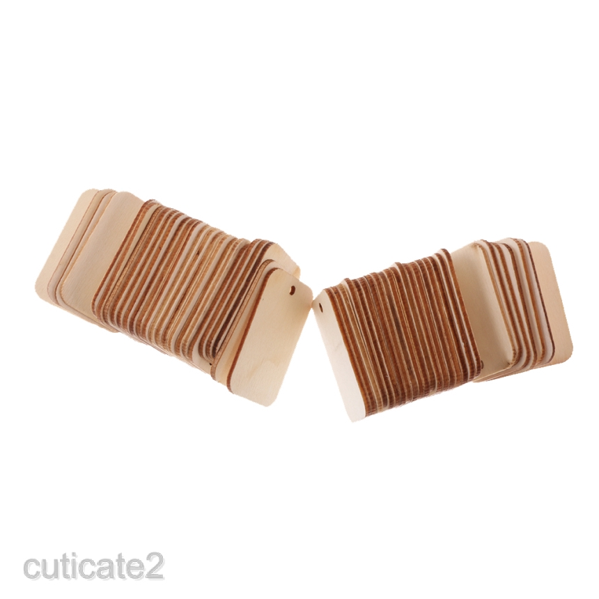 100x Wood Gift Tags Blank Wooden Tags for Wedding Hanging Decoration Crafts