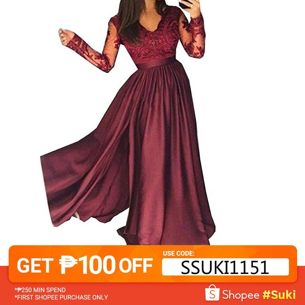 6d309de0e6bdd Gown Sequins Dresses Elegant Women Sleeveless Bridesmaid Lace Long Dress    Shopee Philippines