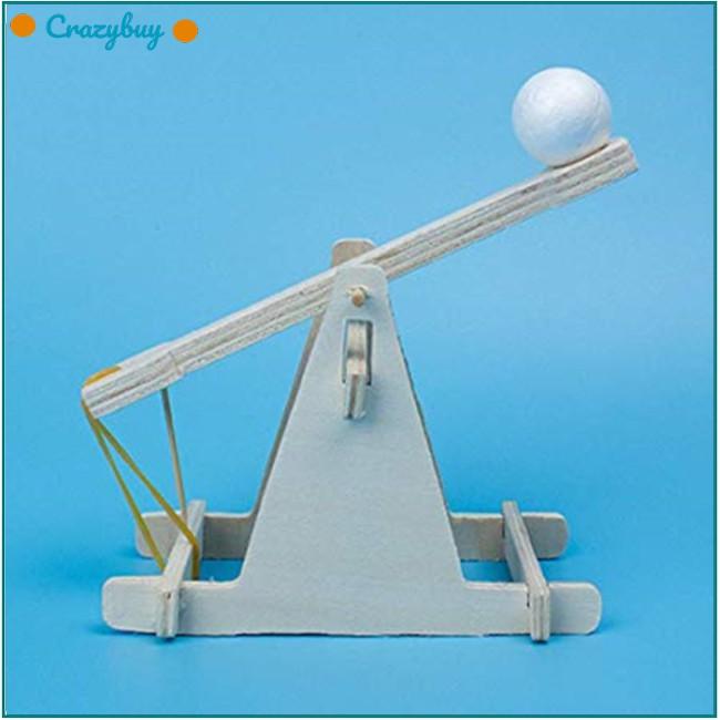 DIY Trebuchet Working Wooden Model Kit Children Scientific Experiment Toys G