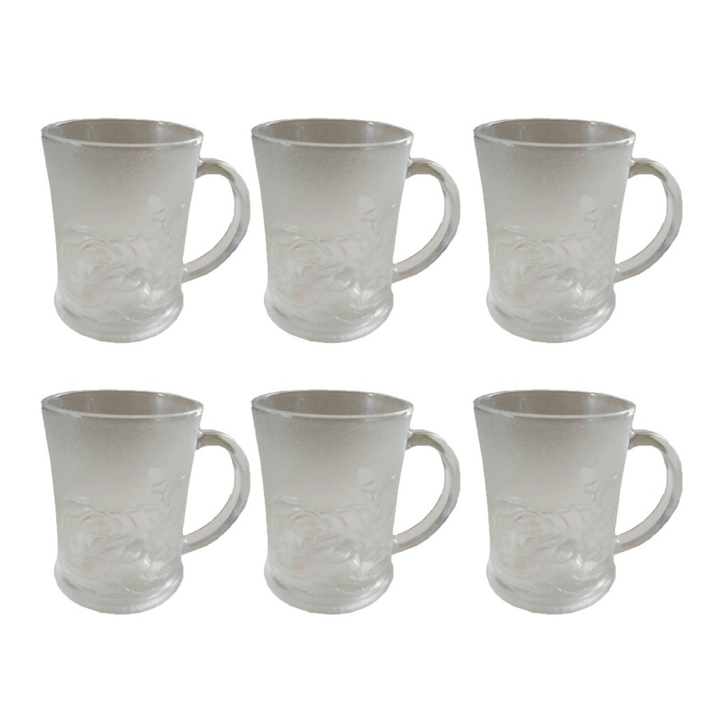 6 Pcs Glass Mug Astra Blue Clear Cup Rose Design Shopee Philippines