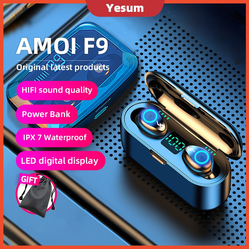 【Ready Stock】F9 TWS 5.0 Bluetooth Earphones Wireless Earbuds LED Display headphone earphone