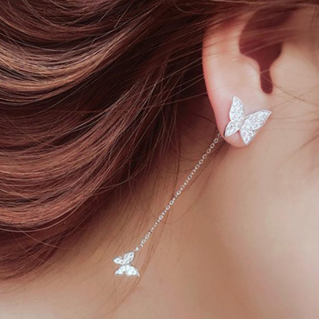 Long Simple Fashion Silver Size Butterfly Diamond Earrings Ladies