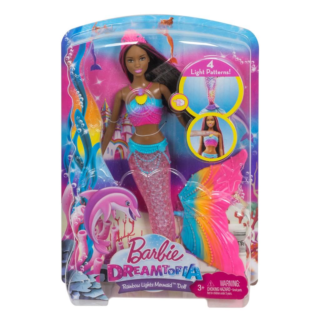 Dark Brown /& Pink Hair Toys Dreamtopia Playsets Mermaid Rainbow Lights Doll