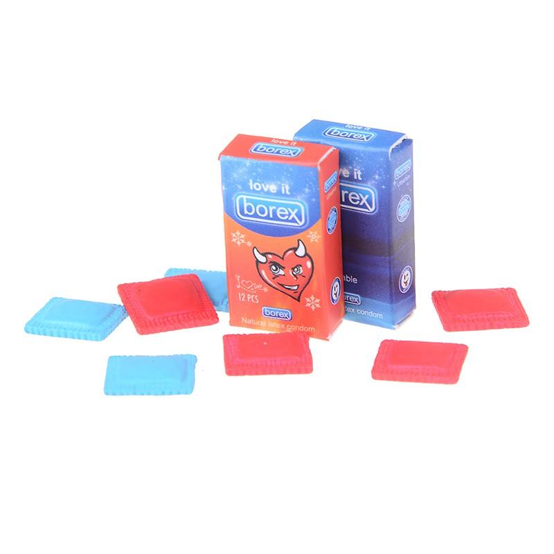 Miniature Borex Paper 2 Boxes /&8 Condoms 1:6 Dollhouse Accessories Decor