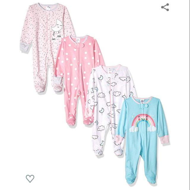 Gerber Baby-Girls 2-Pack Sleep N Play Infant-and-Toddler-Bodysuit-Footies
