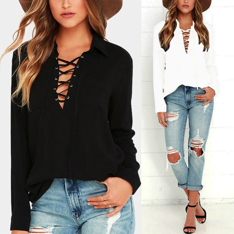 ZANZEA Womens Long Sleeve V Neck Lace Up Tops Ladies Casual Loose Shirts Blouse