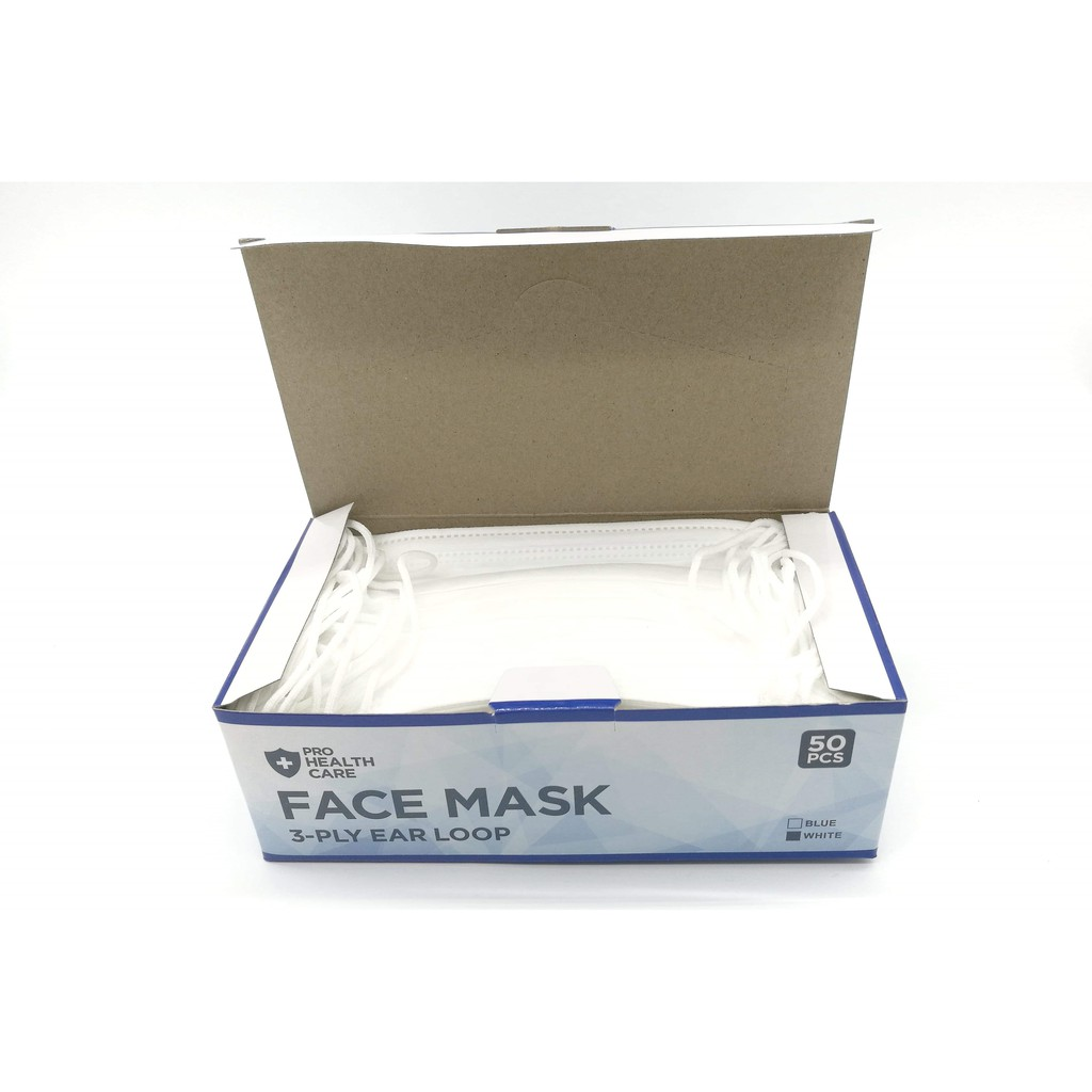Care Surgical Face Mask Color Prohealth Earloop White 3-ply 50pieces Disposable 1box Dust