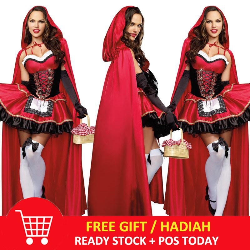Ladies Red Riding Hood Cape Long Hooded Cloak Halloween Fancy Dress Costume New