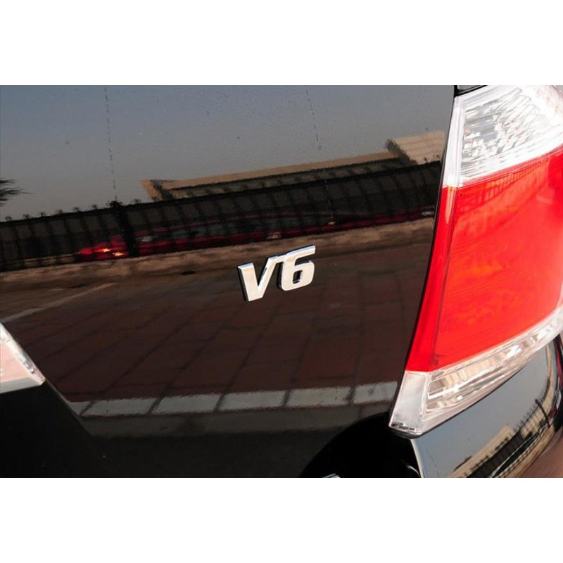 Silver Colour 3D Metal V6 Self Adhesive Badge Sticker for Car Van Auto