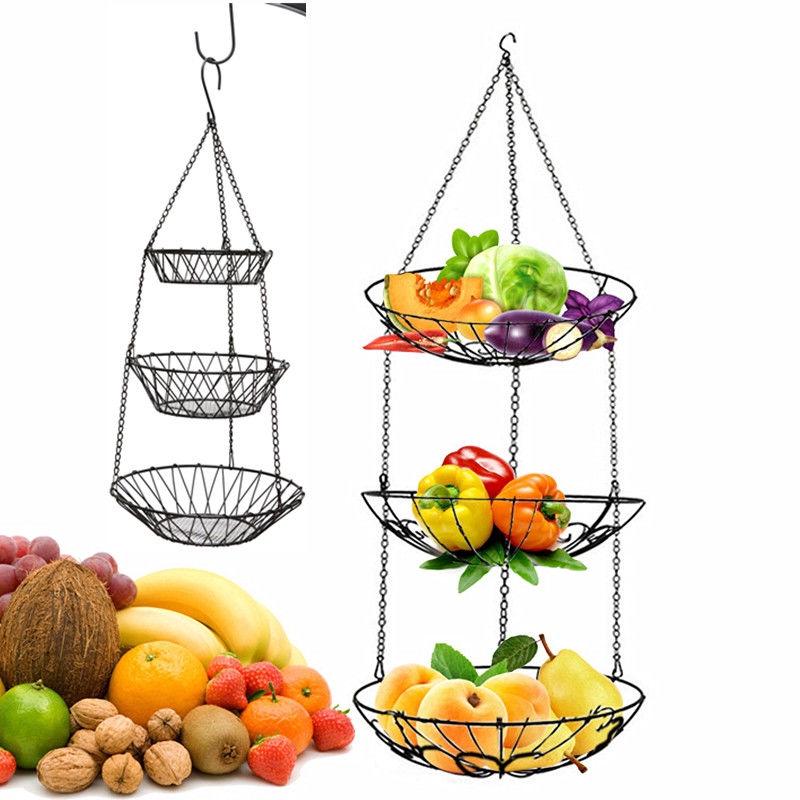 3 tier wire hanging fruit basket, metal vegetable storage