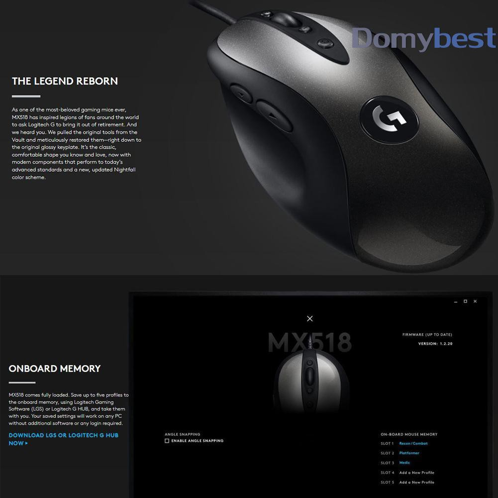 dom Logitech MX518 Wired Gaming Mouse 16000DPI Programmable   Shopee