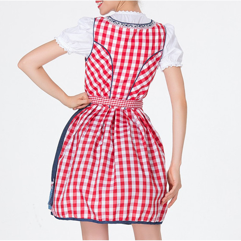 Women Bandage Plus Size Bavarian Oktoberfest Costumes Barmaid Dirndl Dress