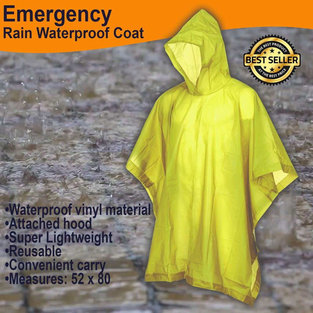 2 X  EMERGENCY WATERPROOF PONCHO RAIN CAPE IDEAL FOR FESTIVALS CAMPING OUTDOOR