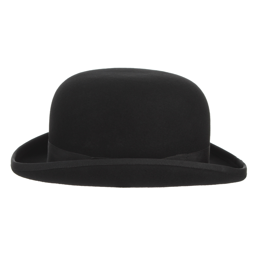 Classic Black Derby Hats Traditional Black Felt Bowler Hat Fedora Trilby