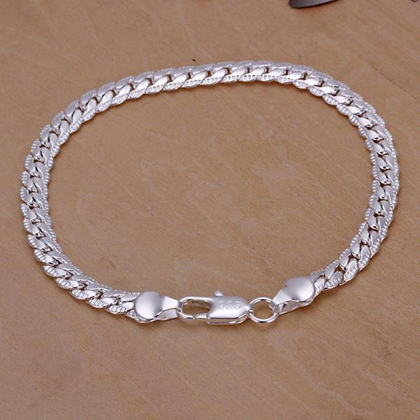 For Men//Women 925 Silver Chain Sideways Bracelets Jewelry 5MM