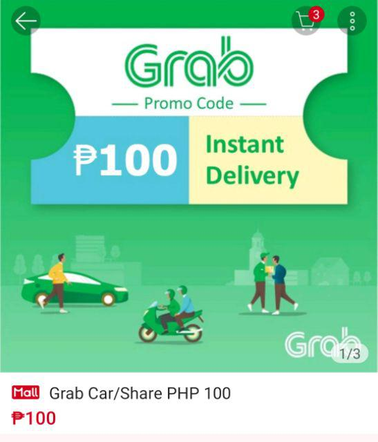 Grab Car/Share PHP 100   Shopee Philippines