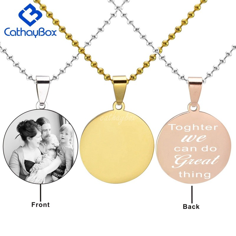 Fathers Day Gift! Personalised Photo//Text Engraved Square Necklace Pendant