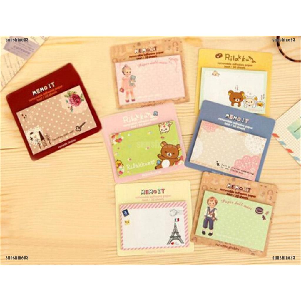2pc Cute Cartoon Animal Sticky Note Memo Pad Notebook Label Stationery PLCA