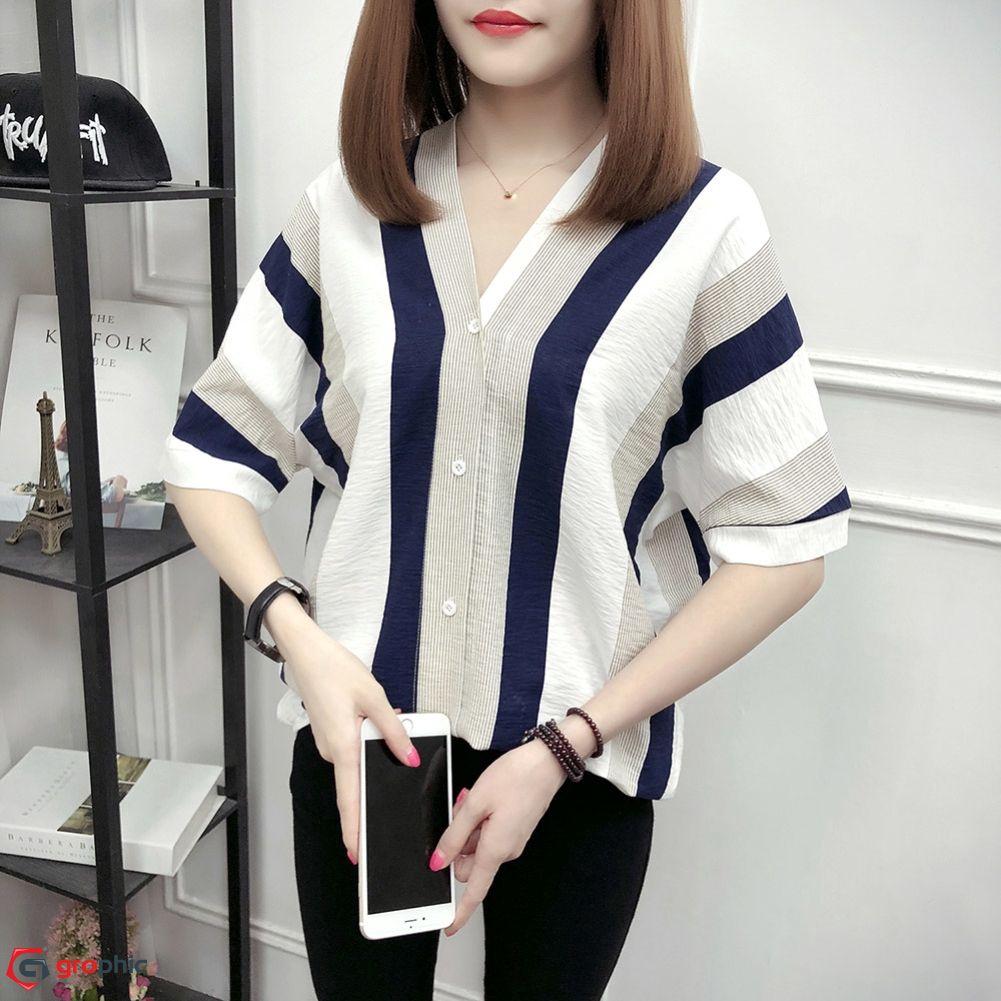 Women Casual Loose Blouse Korean Summer Stripe V neck Butterfly Sleeve Shirt  bg