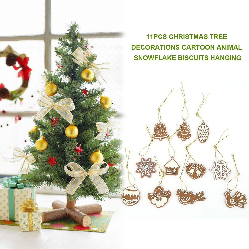 Polymer Clay Christmas Tree Decorations.11pcs Christmas Tree Decorations Snowflake Biscuits Hanging
