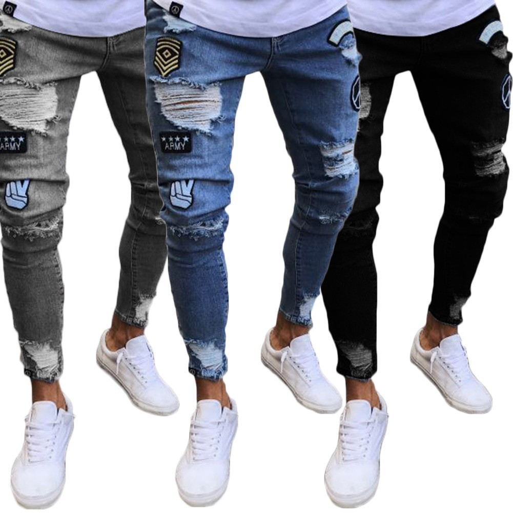 Bambini Attore casetta  YJFASHION Men's Ripped Skinny Biker Distressed Frayed Slim Fit Jeans    Shopee Philippines
