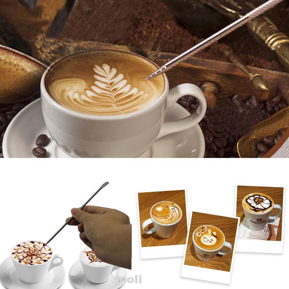 Stainless Steel Latte Art Pen Barista Tool DIY Coffee Art Needle for Cappuccino Espresso Coffee Latte Decoration