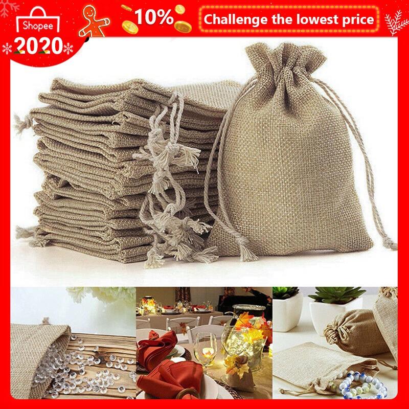 Light Coffee Wedding Favor Hessian Burlap Jute Gift Bags Drawstring Pouches
