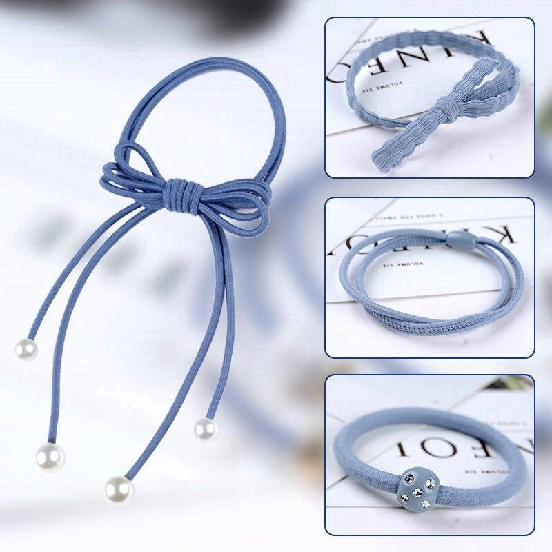 Elastic Ponytail Holder12pcs Hair Bands Rope Women Pearl Stretch Hair Ties High