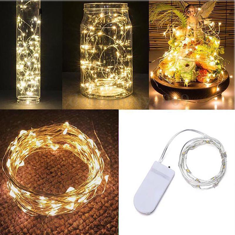 10//20//30LED String Battery Operated Copper Silver Wire Fairy Light Xmas Party AS