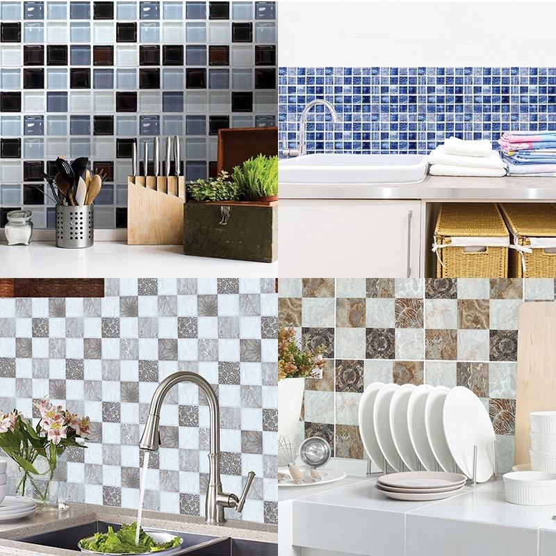 Self Adhesive Tile Sticker Kitchen Backsplash Bathroom Wall Tile Stickers Decor Waterproof Tiles Ze Shopee Philippines