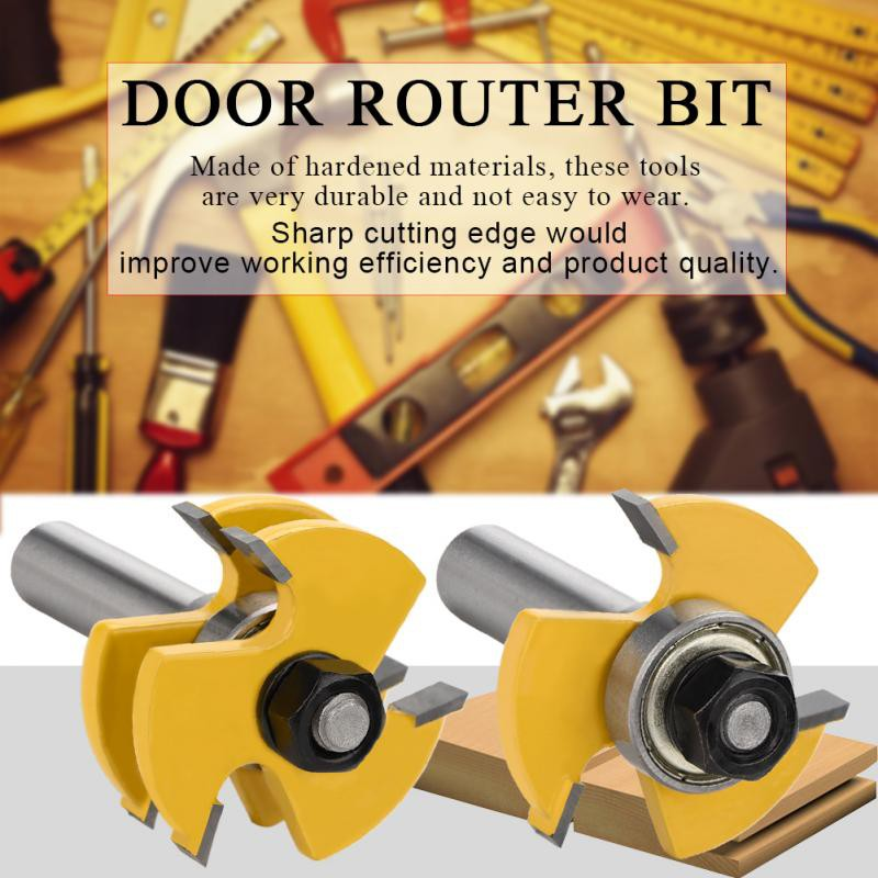 2Pcs Tongue and Groove Router Bits Woodworking Cutter Tool