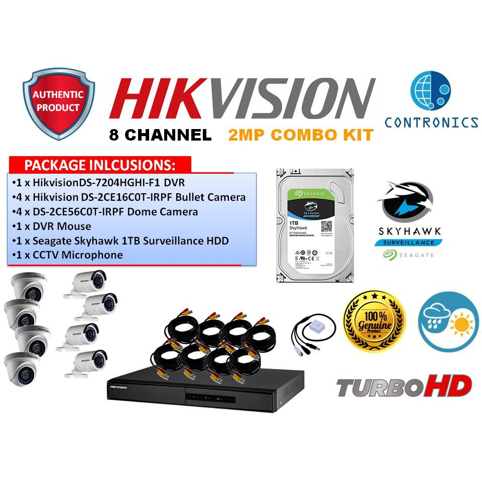 Hikvision 8 Channel 2MP Turbo Combo Kit with Seagate Skyhawk 1TB HDD  Surveillance with CCTV Mic