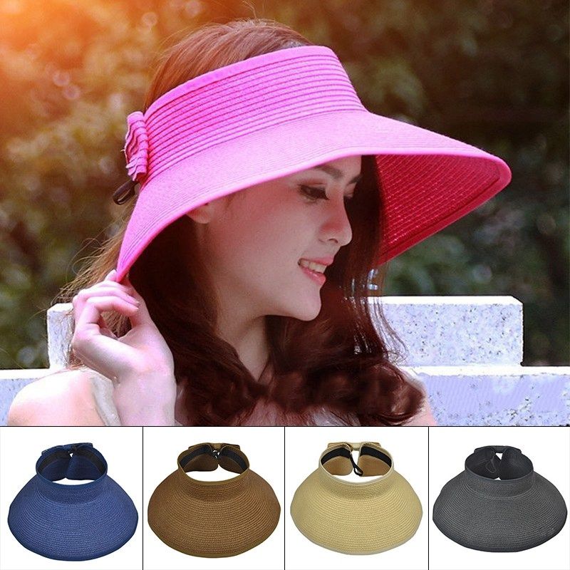 46feda2e53e Korean Fashion Sun Visor Foldable Roll Up Wide Brim Hat