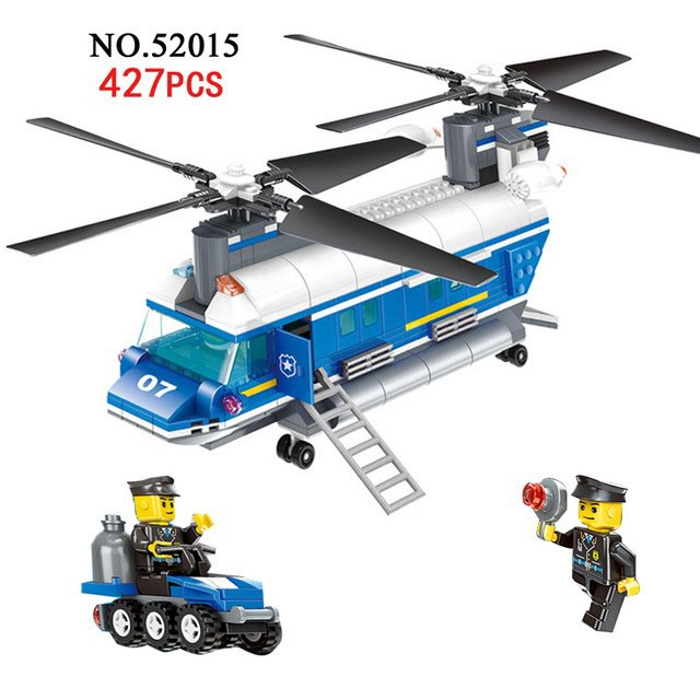 new  Heavy Lift Police Helicopter 427pcs Building Blocks city toys gift kids