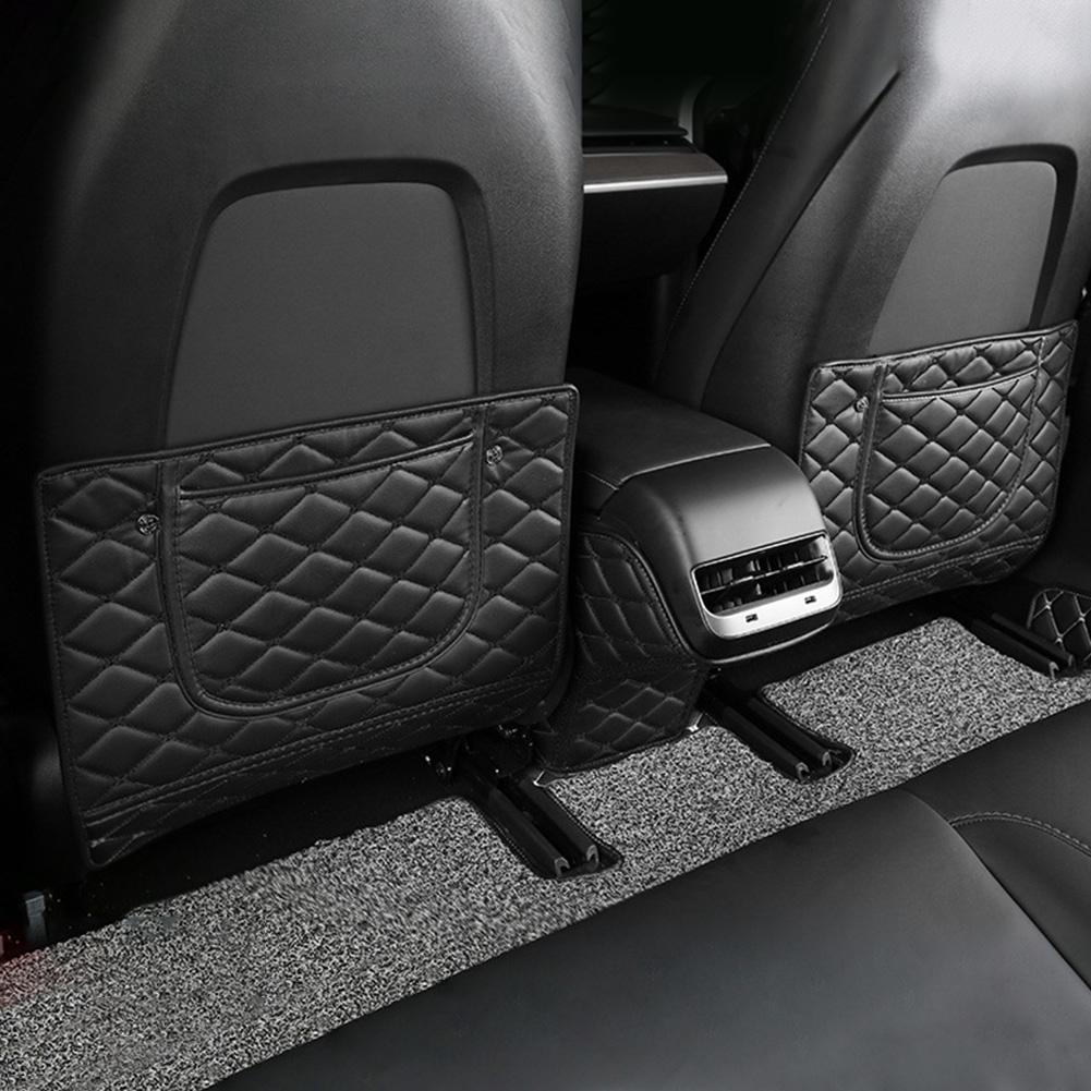 4Pcs Black PU Leather Car Seat Covers for Auto Front Seat w// Organizer Kick Mat