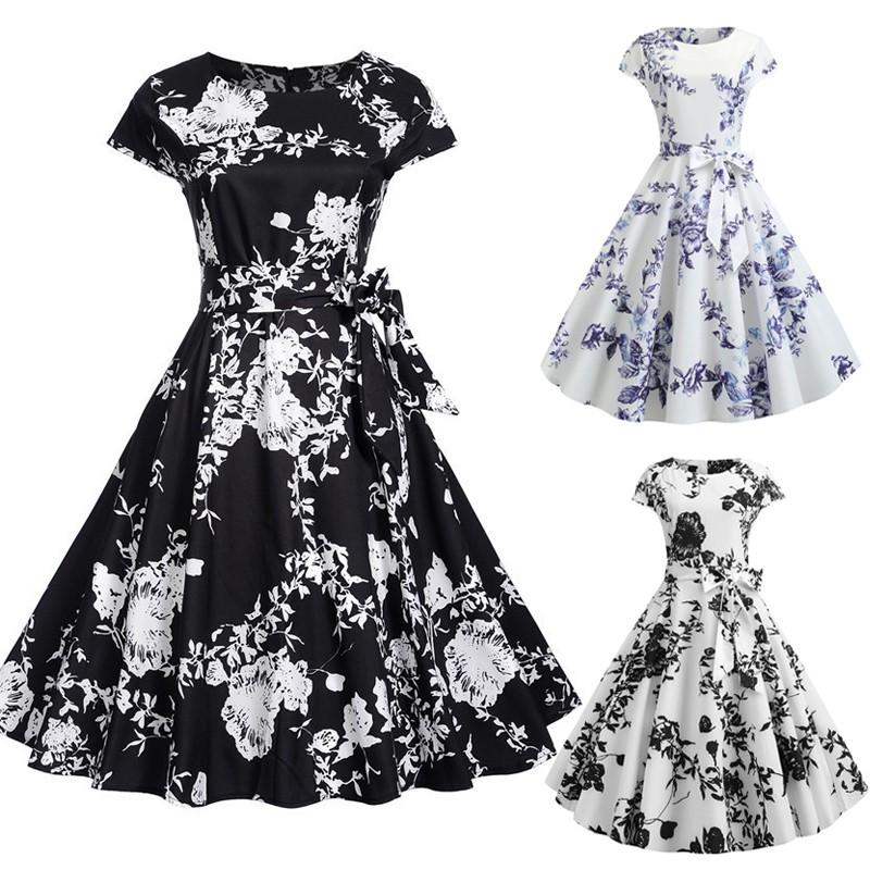 2bc5b15a88273 Women Floral Casual Summer Short Sleeve Vintage Dresses
