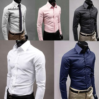 YUNY Mens Casual Slim Fit Buttoned Solid Casual Long-Sleeve Shirt Grey L