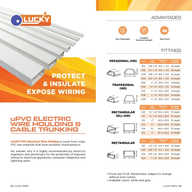Upvc Electric Wire Moulding Cable Trunking Shopee Philippines