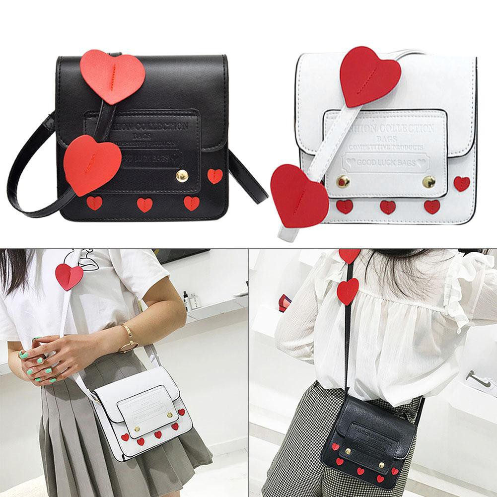 df3aa49da241 Cute Heart Women Girls Shoulder Messenger Bags PU Leather Crossbody