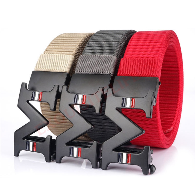 ENNIU Men Thick Canvas Belt Fashion Tactical Buckle Belt Zinc Alloy Buckles New