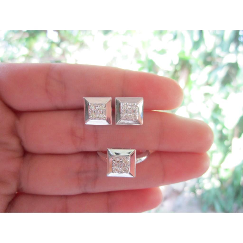 1.25 Carat Diamond Twotone Gold Earrings Ring Set 14k | Shopee ...