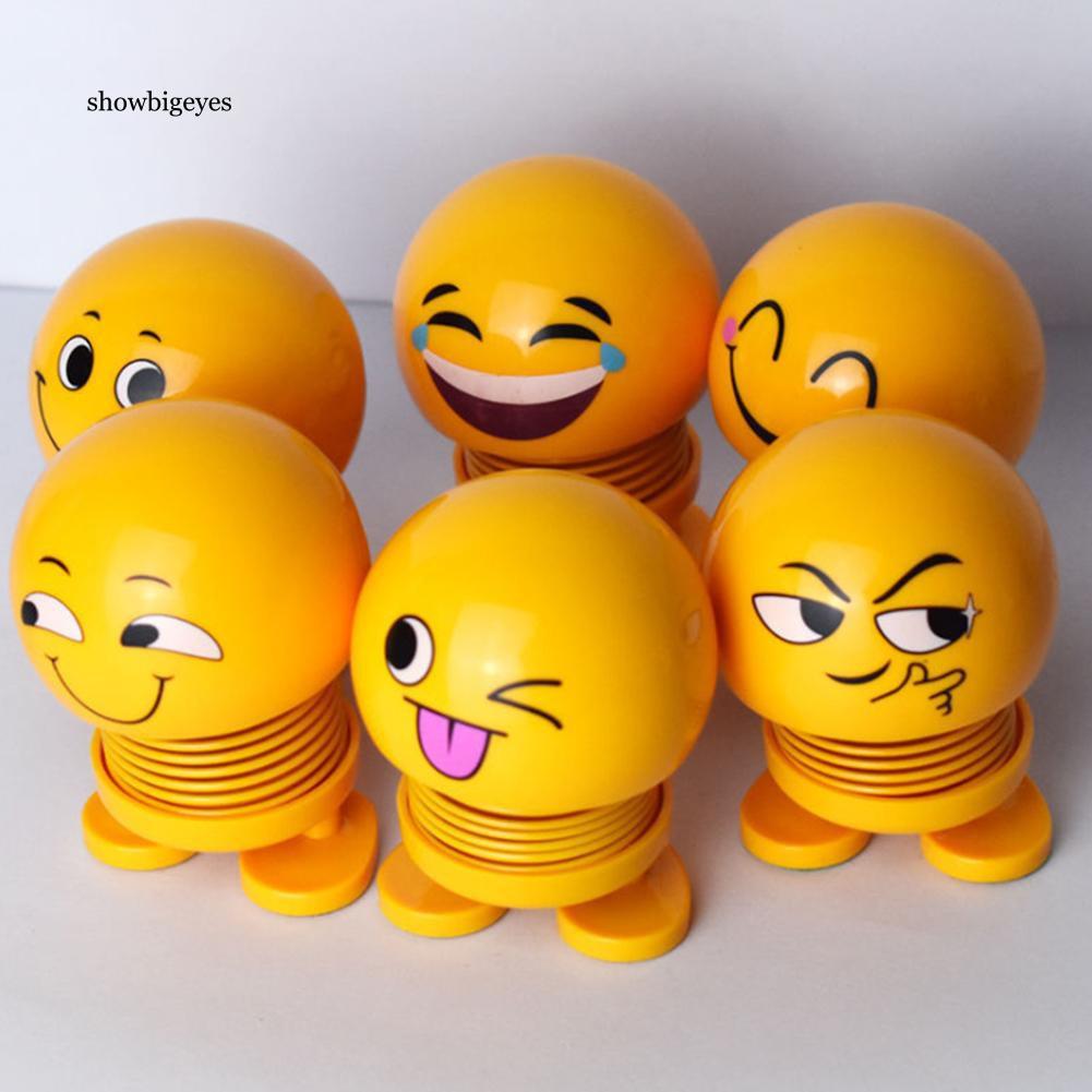 SGE_Cute Emoji Face Expression Spring Shaking Head Doll Toy Car Dashboard  Ornament