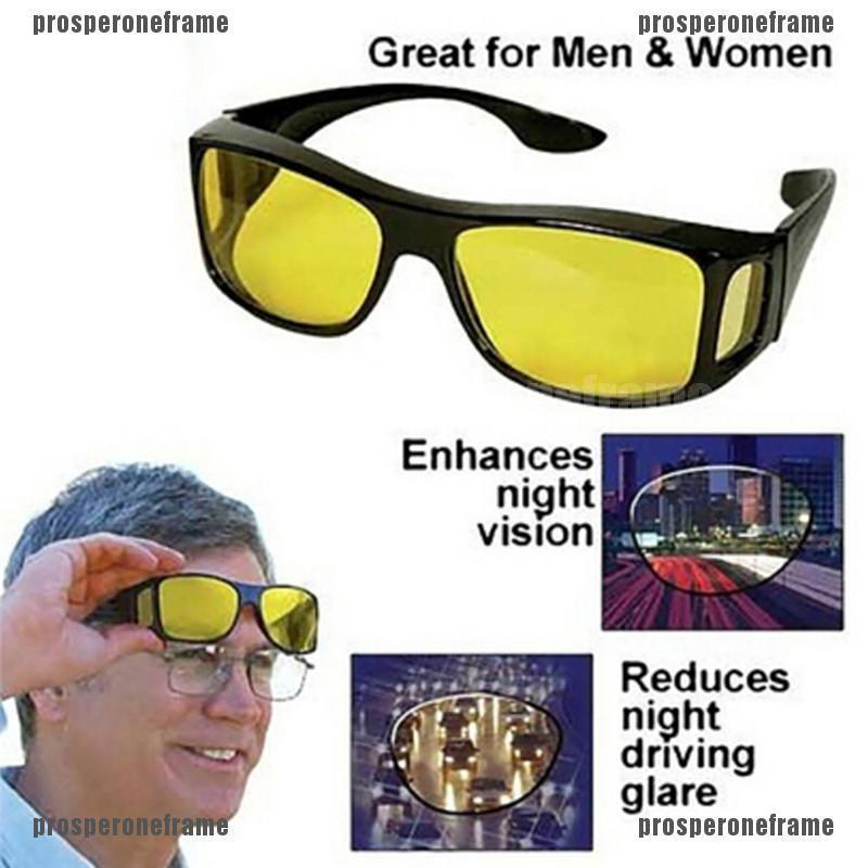 SPORT WRAP HD NIGHT DRIVING VISION SUNGLASSES YELLOW HIGH DEFINITION GLASSES Bla