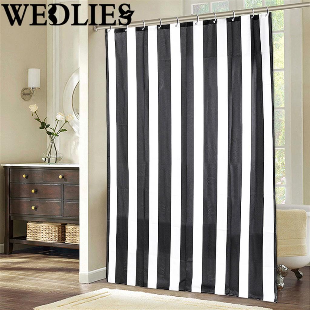 Good Black And White Vertical Stripes Waterproof Bathroom Shower Curtain