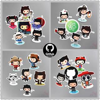 ❉GitHub Stickers❉6 Pcs Octocat Doodle Laptop Stickers