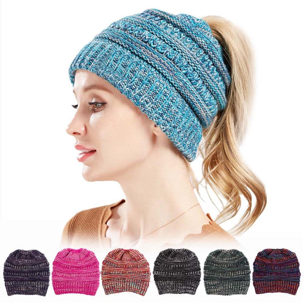 030409f31 Women High Bun Ponytail Stretchy Crochet Knit Beanie Hat