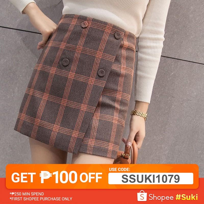 8a7af04422 Korean Ulzzang: High Waist Irregular Gingham Plaid Skirt | Shopee  Philippines