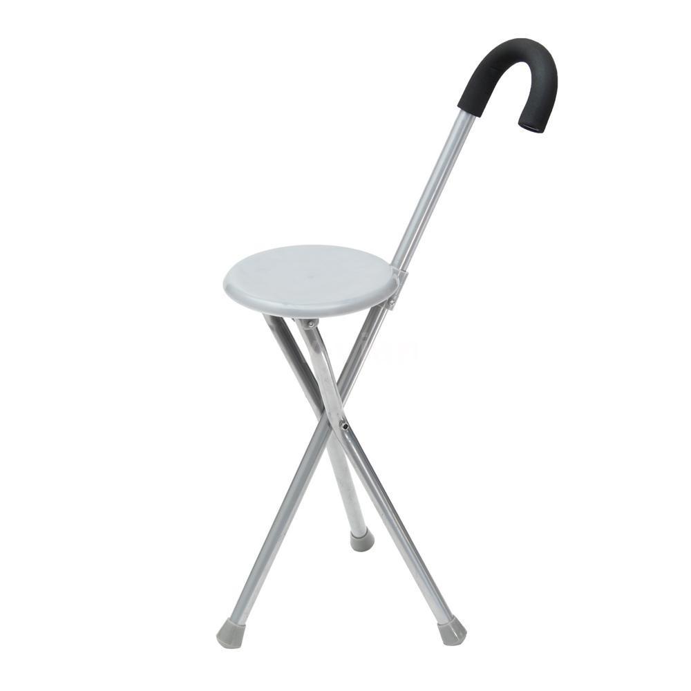 Sensational Travel Cane Walking Stick Seat Camp Folding Portable Stool Chair For The Old Tri Creativecarmelina Interior Chair Design Creativecarmelinacom