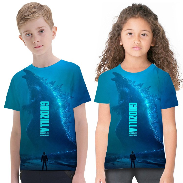 G-od-Zill-a 2019 Kids T-Shirts Long Sleeve Tees Fashion Tops for Boys//Girls